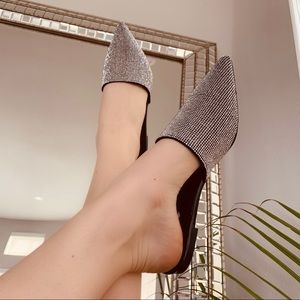 Shoes - ✨Black Crystal Rhinestone Pointed Mule Flats